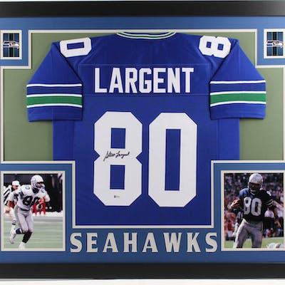 Steve Largent Signed 35x43 Custom Framed Jersey (Beckett COA)