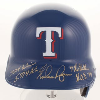 92a62612757 Nolan Ryan Signed Texas Rangers Full-Size Batting Helmet with (4)