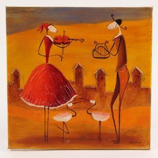 "Esther Myatlov Signed ""Heart Strings"" 12x12 Original Oil Painting on Canvas"