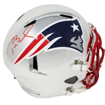 Tom Brady Signed New England Patriots Full-Size Chrome Speed Helmet