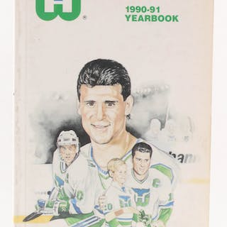 Hartford Whalers 1990-91 Yearbook Team-Signed by (41) with Brad Shaw