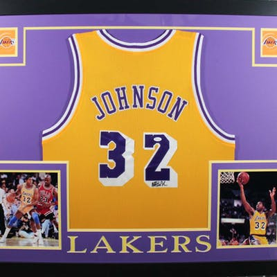 Magic Johnson Signed Los Angeles Lakers 35x43 Custom Framed