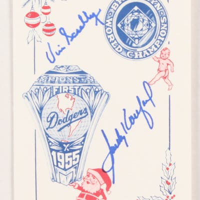 Sandy Koufax & Vin Scully Signed 1955 World Champion Brooklyn Dodgers