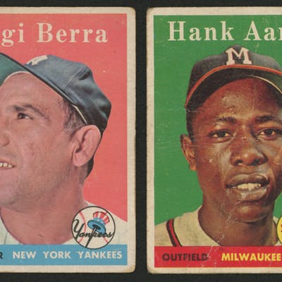 Lot of (2) 1958 Topps Baseball Cards with #370 Yogi Berra & #30 Hank Aaron