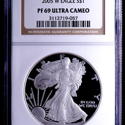 2005-W American Silver Eagle $1 One-Dollar Coin (NGC PF69 Ultra Cameo)