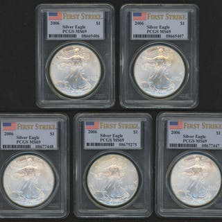 Lot of (5) 2006 American Silver Eagle $1 One Dollar Coins - First