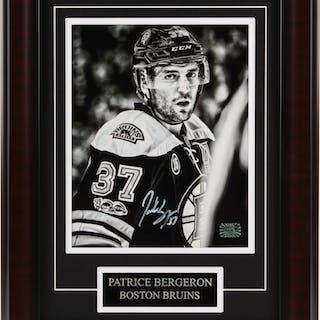 Patrice Bergeron Signed Boston Bruins 13.75x17.75 Custom Framed Photo