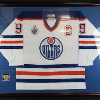 super popular e7df1 e5375 Wayne Gretzky Signed Edmonton Oilers 38x50 Custom Framed ...
