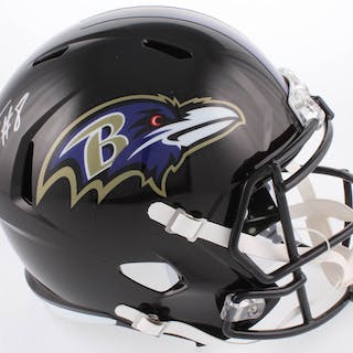 Lamar Jackson Signed Baltimore Ravens Full-Size Speed Helmet (Schwartz
