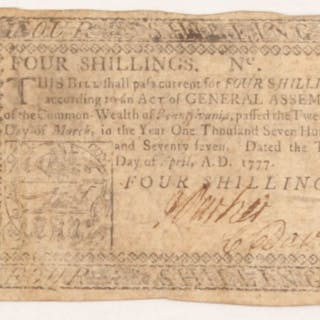 1777 4s. Four-Shillings Pennsylvania Colonial Currency Note