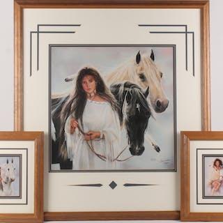 Lot of (3) Maija Custom Framed Print Displays With (1) Signed & Inscribed