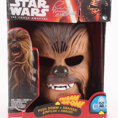 """Peter Mayhew Signed """"Star Wars The Force Awakens"""" Chewbacca Mask Inscribed"""