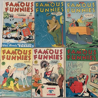 "Lot of (6) 1945 ""Famous Funnies"" Comic Books with #131-134, 136 & 137"