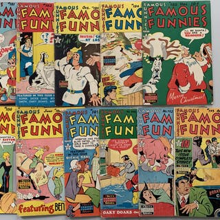 "Lot of (11) 1949-1950 ""Famous Funnies"" Comic Books with #181-186"