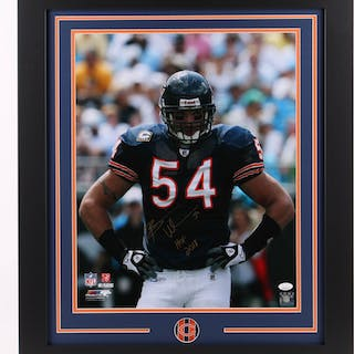 Brian Urlacher Signed Chicago Bears 23.5x27.5 Custom Framed Photo