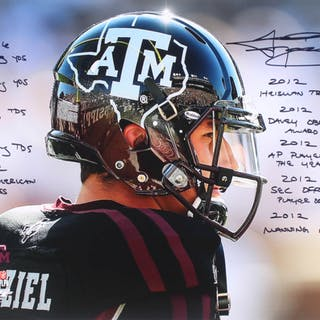 Johnny Manziel Signed Texas A&M Aggies 16x20 Photo with Multiple Inscriptions