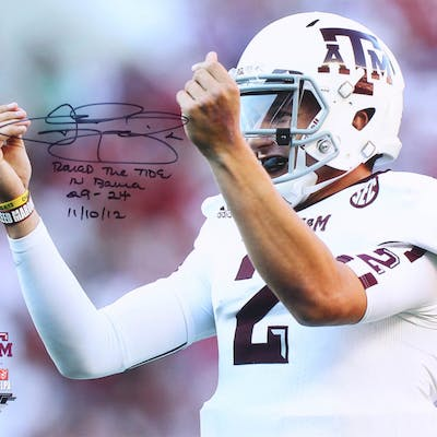 """Johnny Manziel Signed Texas A&M Aggies 16x20 Photo Inscribed """"Rolled"""