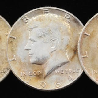 Lot of (5) 1964 Kennedy Silver Half-Dollars with (4) 1964-D