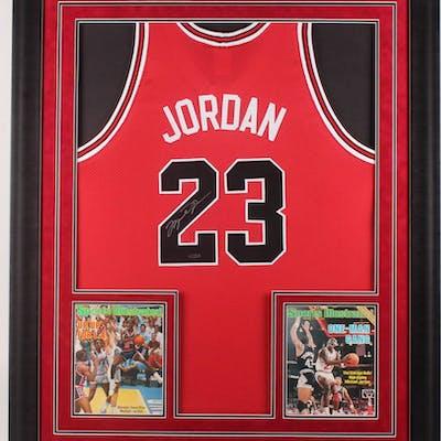 d4f64cb303226 Michael Jordan Signed Chicago Bulls 36.5x44.5 Custom Framed Jersey ...