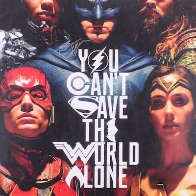 "Ben Affleck Signed ""Justice League"" 24x36 Movie Poster (Schwartz COA"