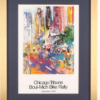 "LeRoy Neiman ""Boul-Mich Bike Rally"" 17x22Custom Framed Print Display"