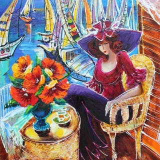"""Yana Rafael Signed """"Beauty With A View"""" 30x24 Original Painting on Canvas"""