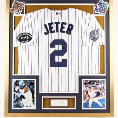 Derek Jeter Signed 32x36 Custom Framed Cut Display (JSA COA)