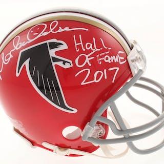 """Morten Andersen Signed Atlanta Falcons Mini Helmet Inscribed """"Hall"""