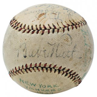 1934 New York Yankees Baseball Multi-Signed by (11) with Babe Ruth