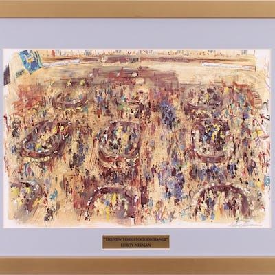 """LeRoy Neiman """"The New York Stock Exchange"""" 18.5x24.5 Custom Framed"""