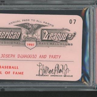 Joe DiMaggio 1981 Official American League Parks Working Pass (PSA Authentic)
