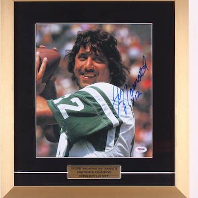 Joe Namath Signed New York Jets 16x18 Custom Framed Photo Display