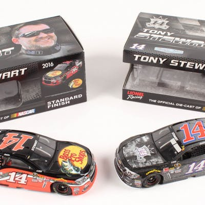 Lot of (2) Tony Stewart LE 1:24 Scale Die Cast Cars with (1) #14 Bass