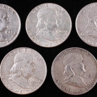 Lot of (5) Franklin Silver Half-Dollars with 1951-D, 1957-D, & (3) 1963-D