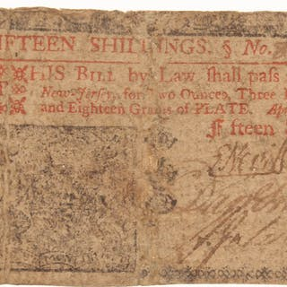 1759 15s. Fifteen Shillings New Jersey Colonial Currency Note
