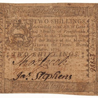 1773 2s. Two-Shillings Pennsylvania Colonial Currency Note