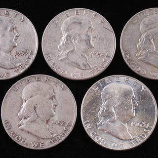 Lot of (5) Franklin Silver Half-Dollars with 1954, 1963-D, 1962-D