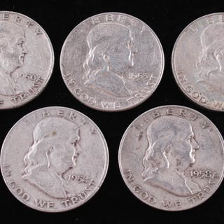Lot of (5) Franklin Silver Half-Dollars with 1960-D, 1958-D, 1954-D