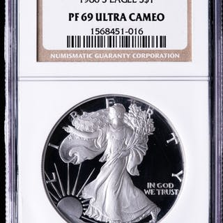 1986-S American Silver Eagle $1 One-Dollar Coin (NGC PF69 Ultra Cameo)