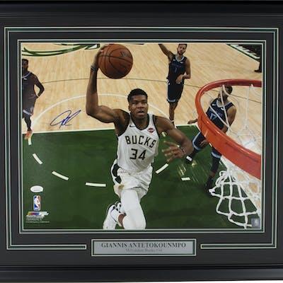Giannis Antetokounmpo Signed Milwaukee Bucks 22x27 Custom Framed Photo