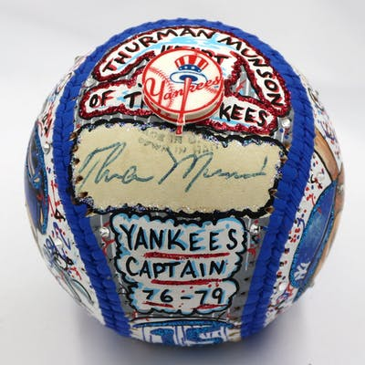 Thurman Munson Signed New York Yankees Baseball Hand-Painted by Charles