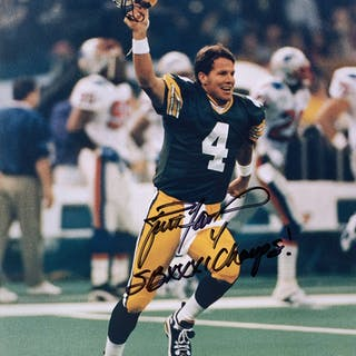 "Brett Favre Signed Green Bay Packers 8x10 Photo Inscribed ""SBXXXI"