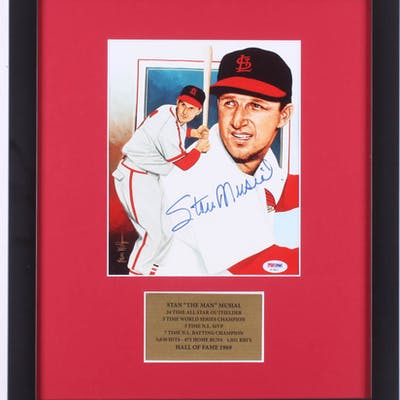 Stan Musial Signed St. Louis Cardinals 16x19 Custom Framed Photo (PSA COA)