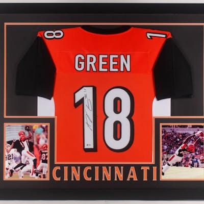 A.J. Green Signed 35x43 Custom Framed Jersey (Beckett COA)