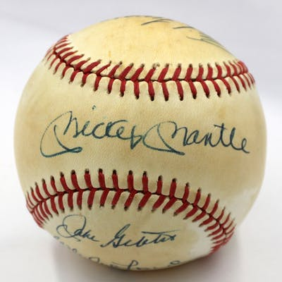 New York Yankees Hall of Famers OAL Baseball Team-Signed by (7) with