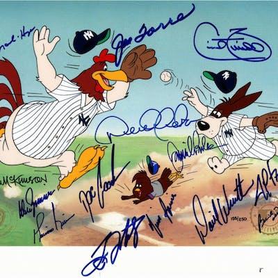 AP Warner Bros. 1996 New York Yankees 10.5x13.5 Animation Cel Signed