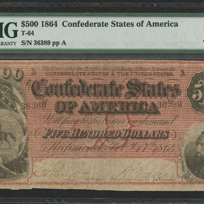 1864 $500 Five Hundred Dollars Confederate States of America Richmond