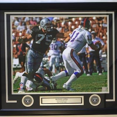 Howie Long Signed Oakland Raiders 22x27 Custom Framed Photo Display (PSA COA)