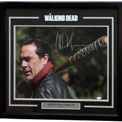 "Jeffery Dean Morgan Signed ""The Walking Dead"" 25x27 Custom Framed"