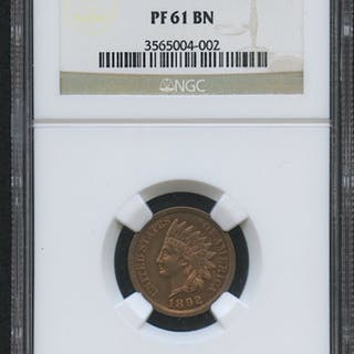 1892 1¢ Indian Head Penny - Proof (NGC PF 61 BN)